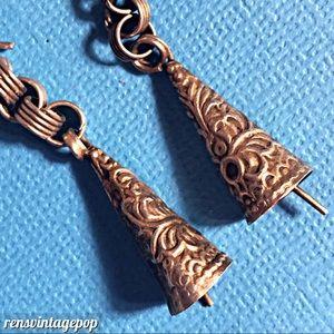 Ornate Dainty bell earrings Tibetan Silver